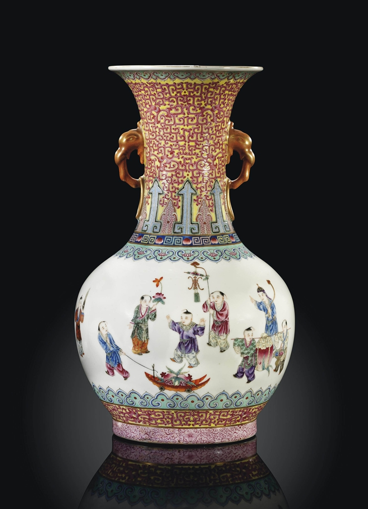 A Famille Rose Bottle Vase Republic Period 1912 1949 Chinese Ceramics And Works Of Art