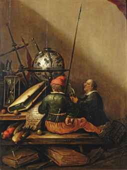 A vanitas still life with two men on a wooden bench