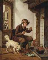 A man smoking a pipe near the fireplace, a dog at his feet