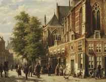 Numerous figures in a sunlit street near a church