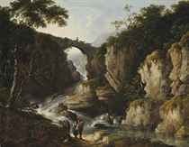 A wooded landscape with figures on a track, a bridge beyond