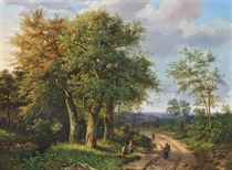 Travellers resting by a woodland path