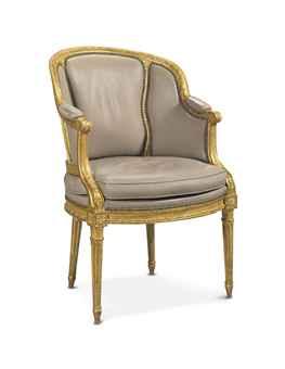 a louis xvi giltwood fauteuil de bureau by delaisement circa 1780 european ceramics glass. Black Bedroom Furniture Sets. Home Design Ideas