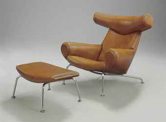 hans wegner 1914 2007 an 39 ox 39 lounge chair and ottoman. Black Bedroom Furniture Sets. Home Design Ideas