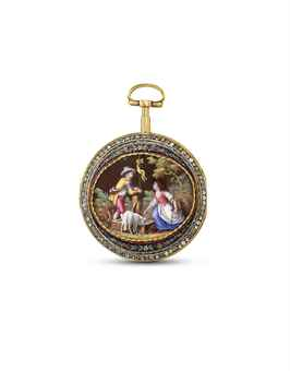 PHILIPPE TERROT. A GILT BRASS, ENAMEL AND PASTE-SET OPENFACE KEYWOUND VERGE WATCH