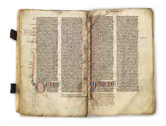 BIBLE with Prologues and the Interpretation of Hebrew Names, in Latin, DECORATED MANUSCRIPT ON VELLUM