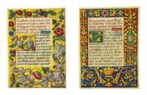 Two leaves with full-page borders from a Prayerbook, in Lati