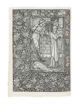 MORRIS, William (1834-1896). The Life and Death of Jason, A Poem. London: Kelmscott Press, 1895. Large 4° (290 x 214mm). Printed in Troy type in black and red, two large woodcut illustrations after designs by Sir Edward Burne-Jones, each with full woodcut page-borders, numerous partial woodcut borders and initial. Original limp vellum, spine gilt, silk ties, uncut (lightly bowed and soiled).
