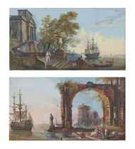 Views of classical harbours, one with a Palladian palace, the other with a tower seen through a coffered arch