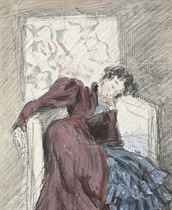A lady asleep in a chair (recto); and A subsidiary study (verso)