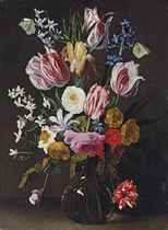 Tulips, daffodils, irises and roses in a glass vase with butterflies and other insects on a ledge