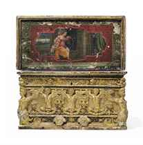 AN ITALIAN GILTWOOD AND POLYCHROME-DECORATED CASSONE