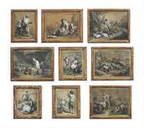 A collection of twenty-seven rustic and pastoral scenes depicting figures and animals