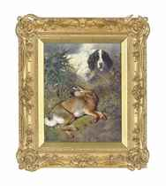 Hare and a Setter in a landscape