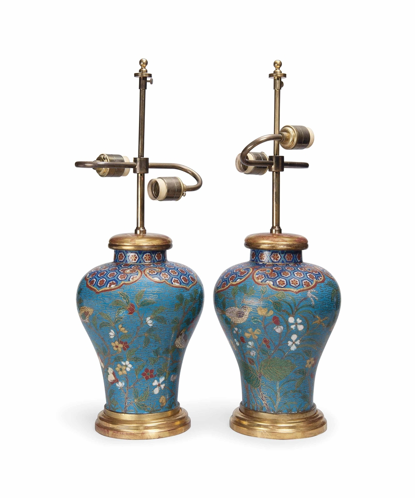 A Pair Of Chinese Cloisonne Vases As Lamps Late 19th