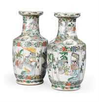 A PAIR OF CHINESE FAMILLE VERTE VASES