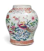 A LARGE CHINESE FAMILLE ROSE BALUSTER VASE