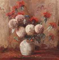 A still life with flowers in a vase