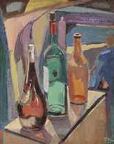 A still life with bottles