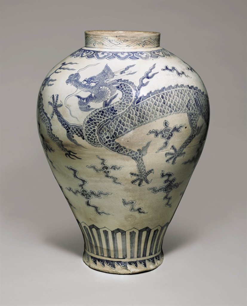 an important and monumental blue and white porcelain dragon jar