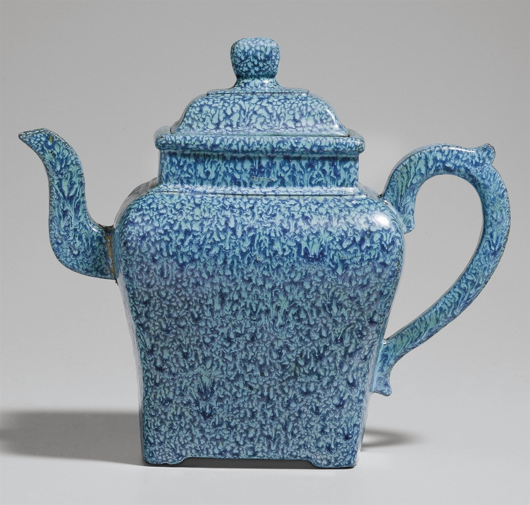 An Unusual Yixing 39 Robin 39 S Egg 39 Glazed Faceted Teapot And