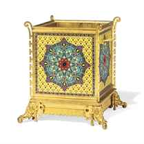 A FRENCH 'JAPONISME' ORMOLU AND CLOISONNE ENAMEL JARDINIERE