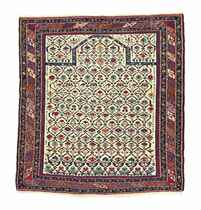 A PART METAL-THREAD SHIRVAN PRAYER RUG