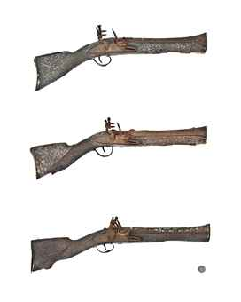 A GROUP OF FIVE OTTOMAN FLINTLOCK BLUNDERBUSS PISTOLS