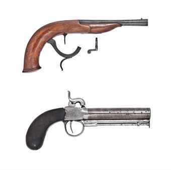 A 160-BORE PERCUSSION UNDER-HAMMER SALOON PISTOL