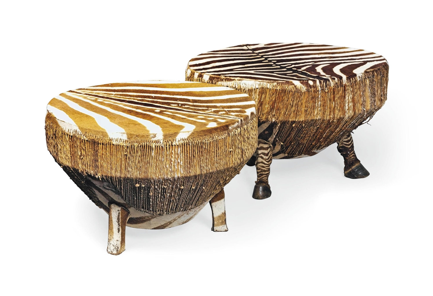 A Near Pair Of African Zebra Skin Drum Tables 20th