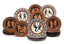 EIGHTEEN GIUSTINIANI TERRACOTTA RED-FIGURED DESSERT PLATES