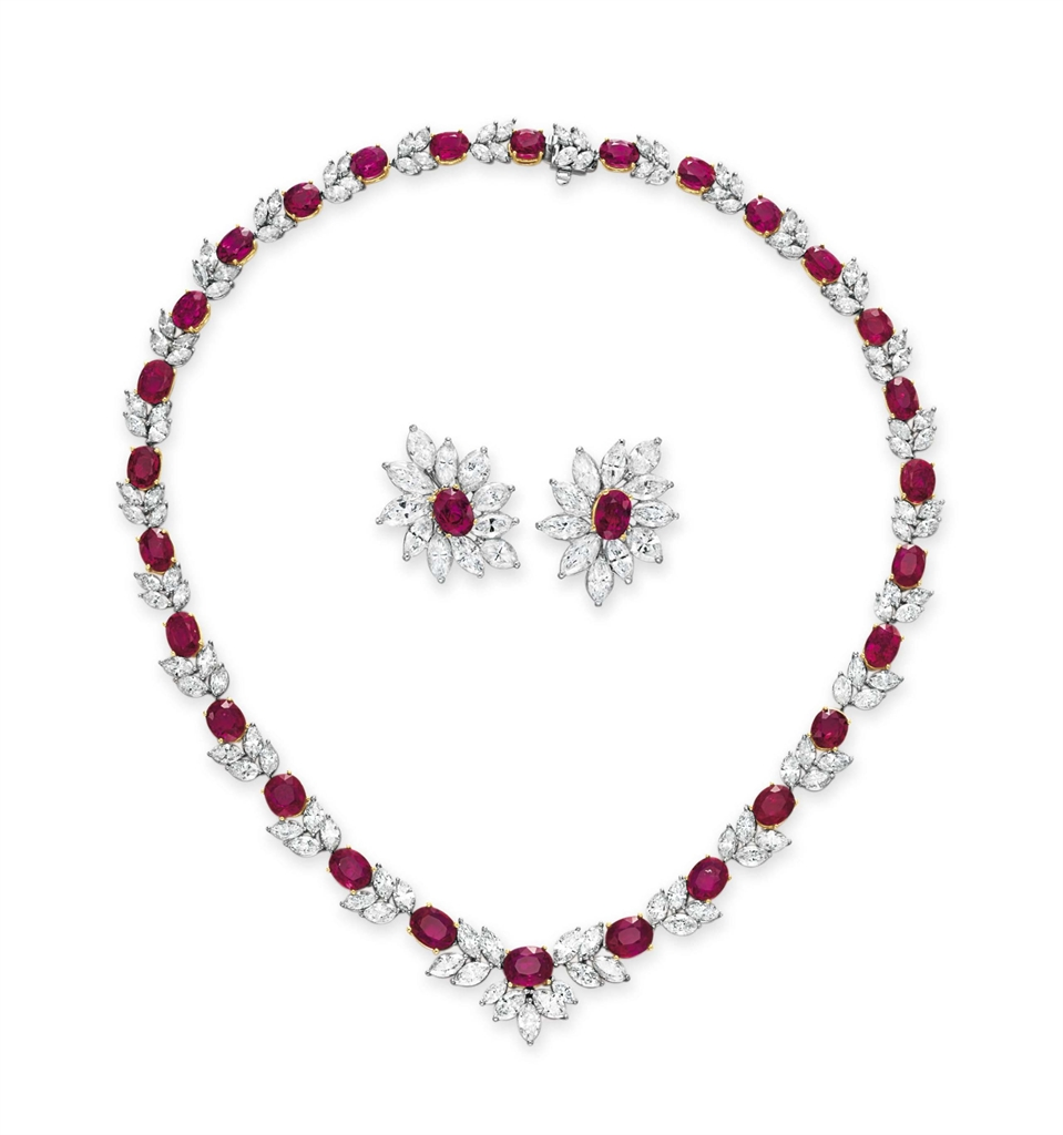 a set of ruby and jewelry set