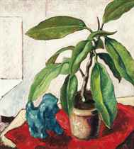 Still life with blue dog
