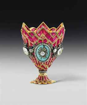 A MAGNIFICENT SWISS GOLD, RUBY, DIAMOND, AND ENAMEL ZARF