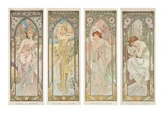 Alphonse Mucha (1860-1939)   THE TIMES OF THE DAY LES HEURES DU JOUR
