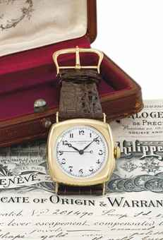 Patek Philippe. A fine and rare early 18K gold cushion-shaped hinged wristwatch with enamel dial and sweep centre seconds, original certificate and box