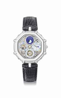 Gérald Genta. A fine platinum and mother-of-pearl octagonal automatic skeletonized perpetual calendar wristwatch with moon phases