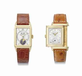 Jaeger-LeCoultre. A group lot of two 18K gold rectangular wristwatches