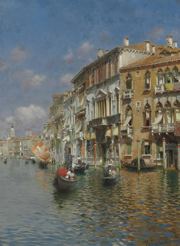 Not For Sale >> Rubens Santoro (Italian, 1859-1942) | Gondolas on the ...