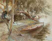 A summer idyll: An artist sketching a young girl asleep in a hammock on the banks of a river