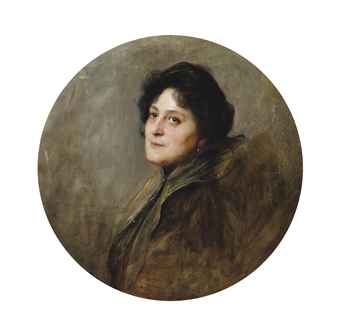 Portrait of Baronesse Wolff von Stomersee, née Alice Barbi 1901, bust-length, in an oval mount