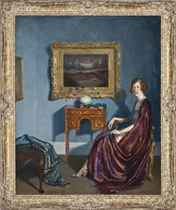 Portrait of an elegant lady, seated in an interior