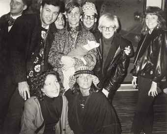 Andy, Peter McGough, Marie-Chantal Miller and unidentified guests, 1986