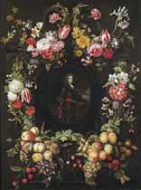 Portrait of an officer, three-quarter-length, in armour, holding a commander's baton, a coastal cavalry battle in the background, in a stone cartouche surrounded by garlands of tulips, roses, carnations, purslane and other flowers, plums, grapes, chestnuts, hazelnuts and other fruits and nuts, with a butterfly and dragonfly