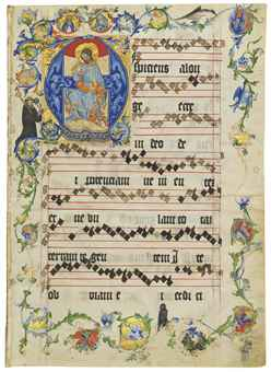 CHRIST IN MAJESTY, historiated initial 'A' on a bifolium from an Antiphonal, in Latin, ILLUMINATED MANUSCRIPT ON VELLUM