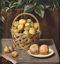 A still life with pears and peaches