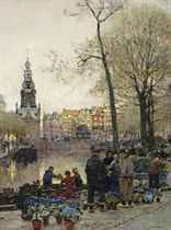 Flowermarket in Amsterdam, the Munt beyond
