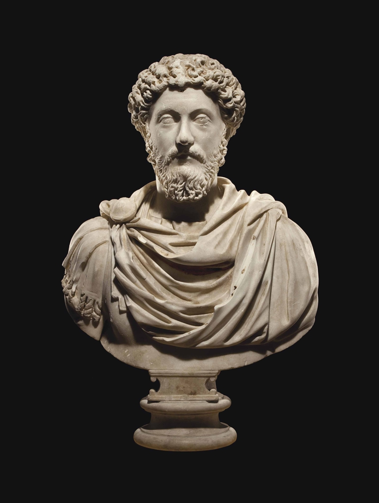 A Roman Marble Portrait Bust Of The Emperor Marcus