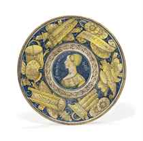 AN ITALIAN MAIOLICA DATED BELLA DONNA DISH