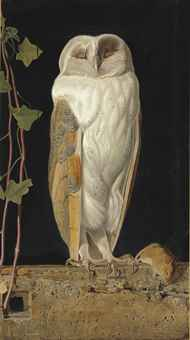 The White Owl. 'Alone and warming his five wits, The white owl in the belfry sits'
